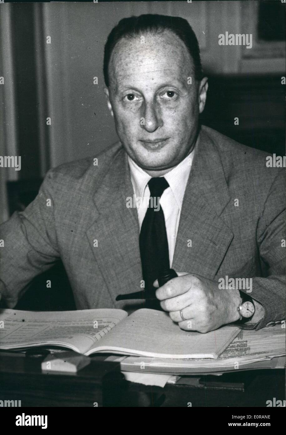 Oct. 06, 1958 - Mr Etienne Hirsch of the French government - Stock Image