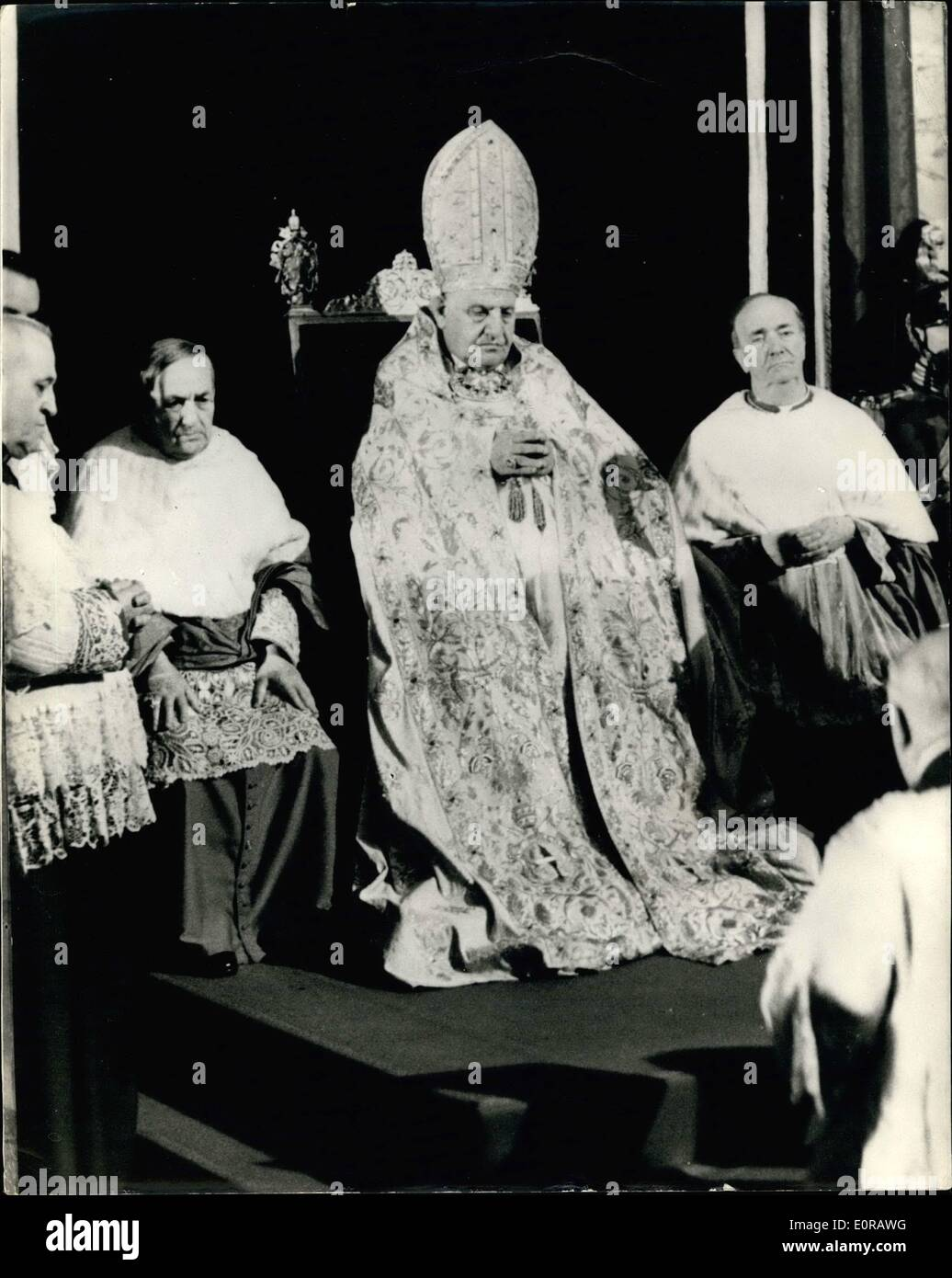 Nov. 11, 1958 - The Pope Takes Possession Of St. John In Lateran Basilica: H.H. The Pope left the Vatican City to take possession at St. John in Lateran Basilica. Photo Shows Pope John XXIII flanked by Cardinals - during the ceremonies at St. John Lateran's Basilica. - Stock Image