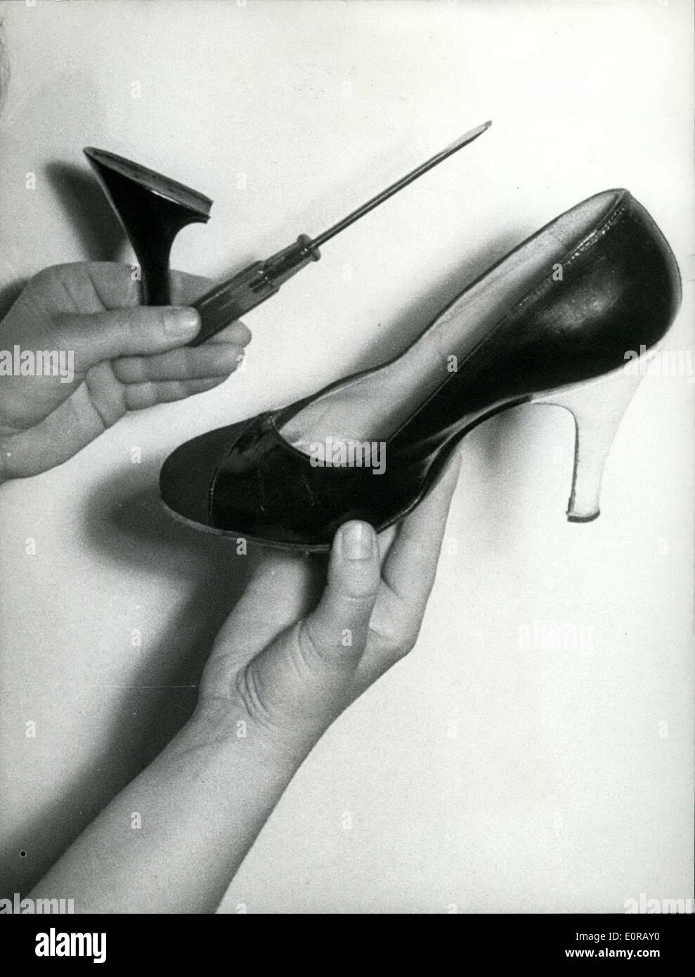 Oct. 09, 1958 - Heels to change in all colours: are the last newness of the shoe-fashion. The ladies easily can carry the heels - Stock Image