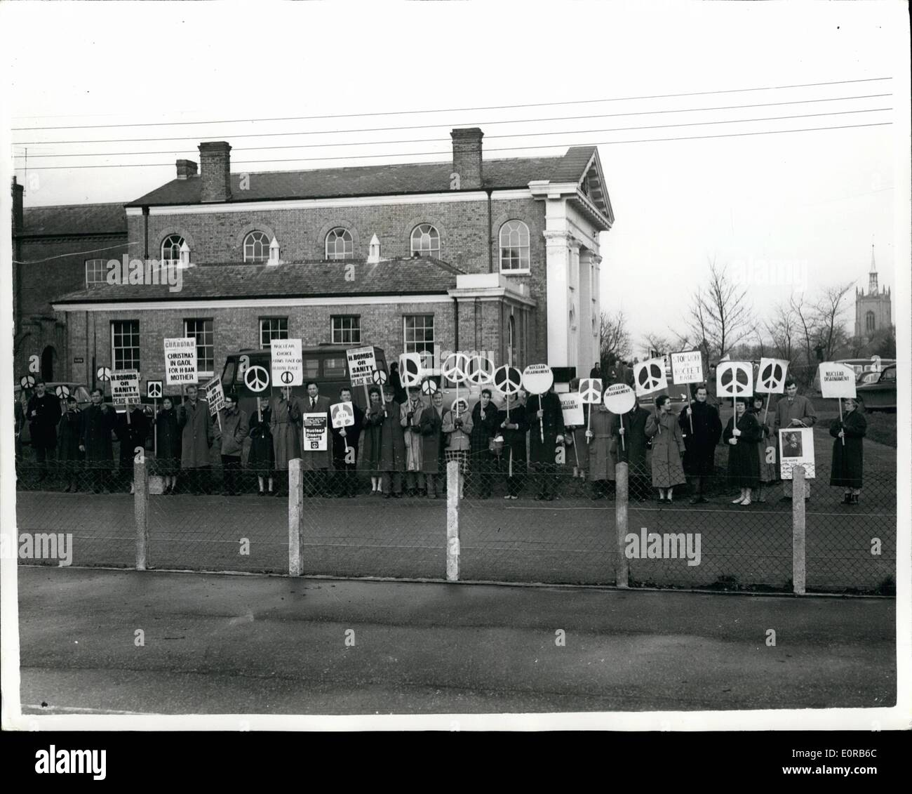Dec. 12, 1958 - 37 Say They Won't Give Peace Bond: Forty-four rocket site marchers were ordered yesterday to enter into a recognisance of 10 to keep the peace for a year. But 37 of them said they could not agree to the order. Col. J.H. Boag,chairman of the magistrates at Swaffham, Norfolk told them: ''Such recognisances are to be entered into within seven days. On failure to comply with the order, you will go to prison for 14 days''. Thirty-two men and 13 women were charged with obstructing the police. They were arrested during demonstrations at a Norfolk rocket site on December 20 - Stock Image