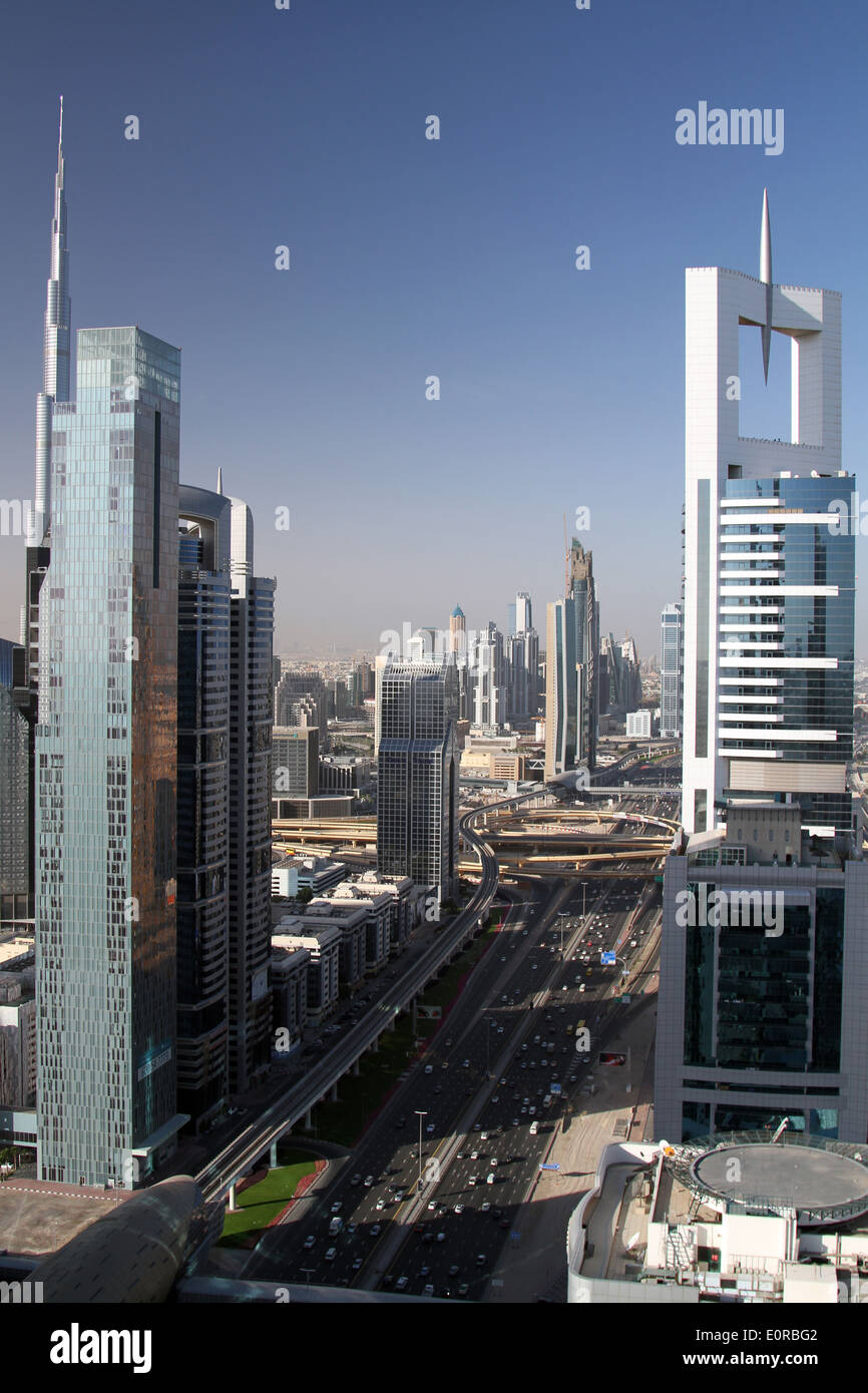 Skyscrapers line either side of Sheikh Zayed Road in Dubai on Monday 5 May, 2014. Stock Photo