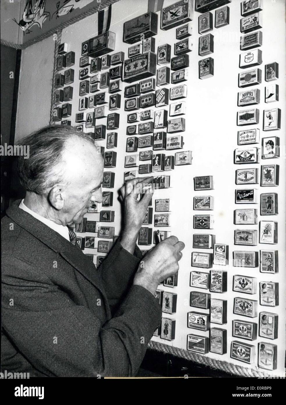 Dec. 30, 1958 - An effective idea for advertising: had the tobacconist Hellmuth Mohr from Bremen. He ''prepared the walls of his shop with more than a thousand match-boxes from all over the world which he had brought to him by sailors who a the main customers of his, from all parts of the world. - Stock Image