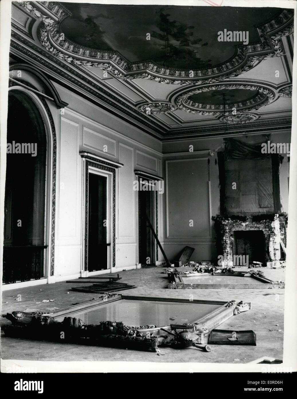 Mar. 03, 1959 - Home Of Baron De Rothschild Being Demolished.:Photo shows view inside of the rooms of the massive Stock Photo