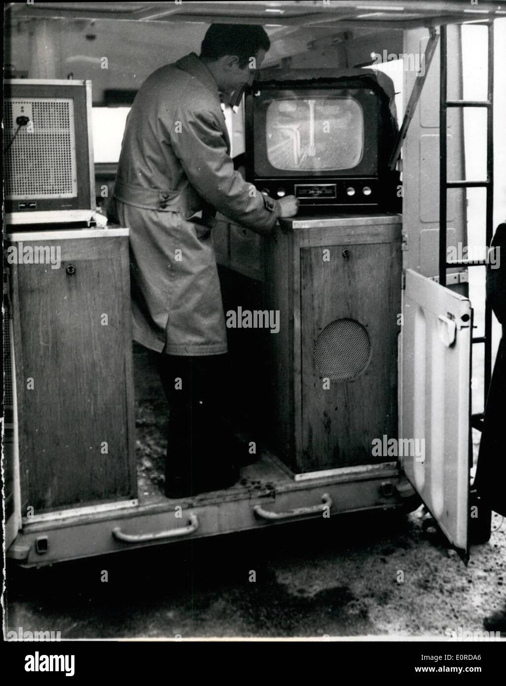 Feb. 02, 1959 - T.V. For Engine Tests: A T.V. camera fixed to any part of the engine under test and connected with a sen play - Stock Image