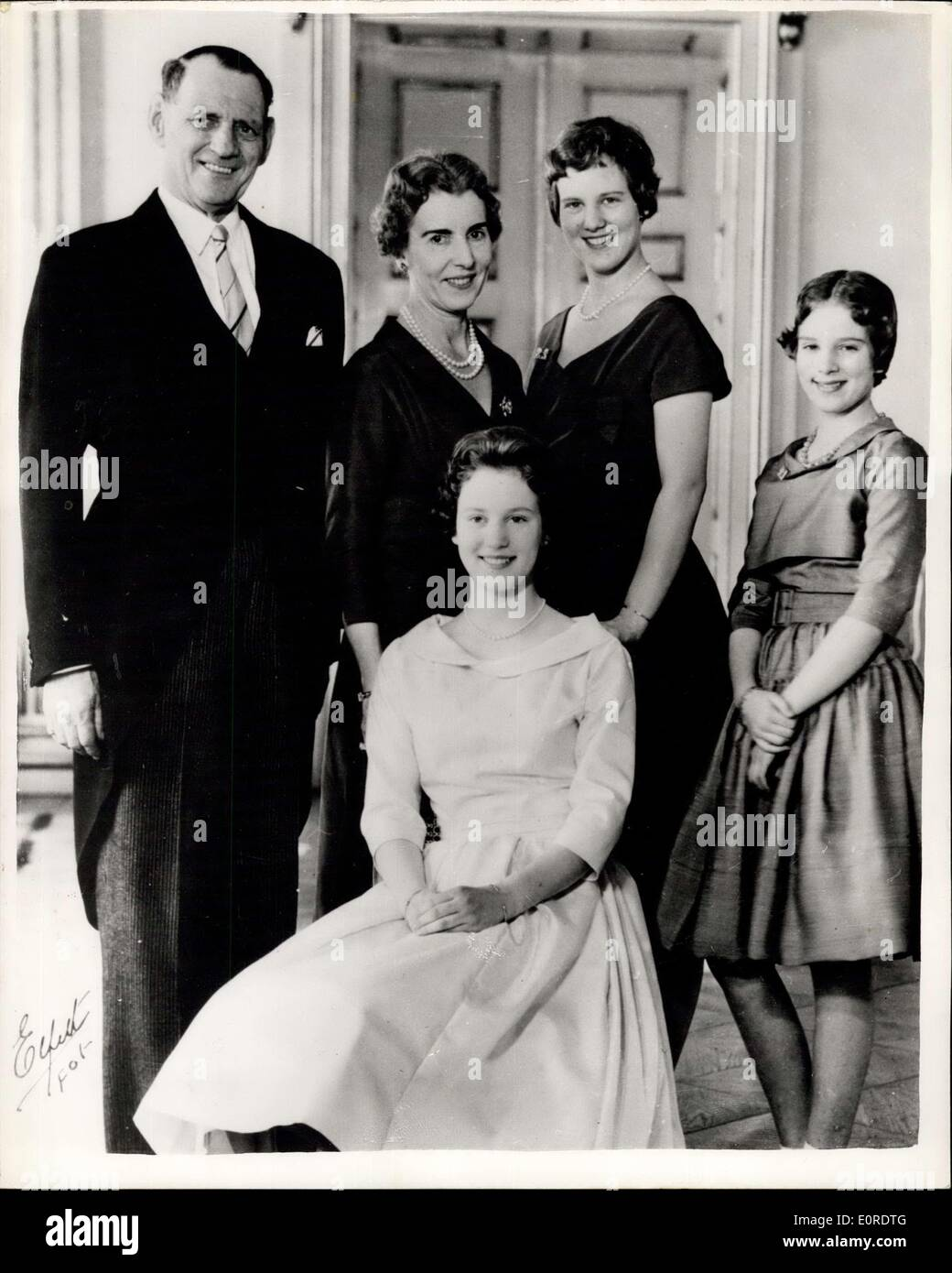 Mar. 20, 1959 - Princess Benedikte Of Denmark Attends Confirmation Service: In Scandinavian countries - young people at the age - Stock Image