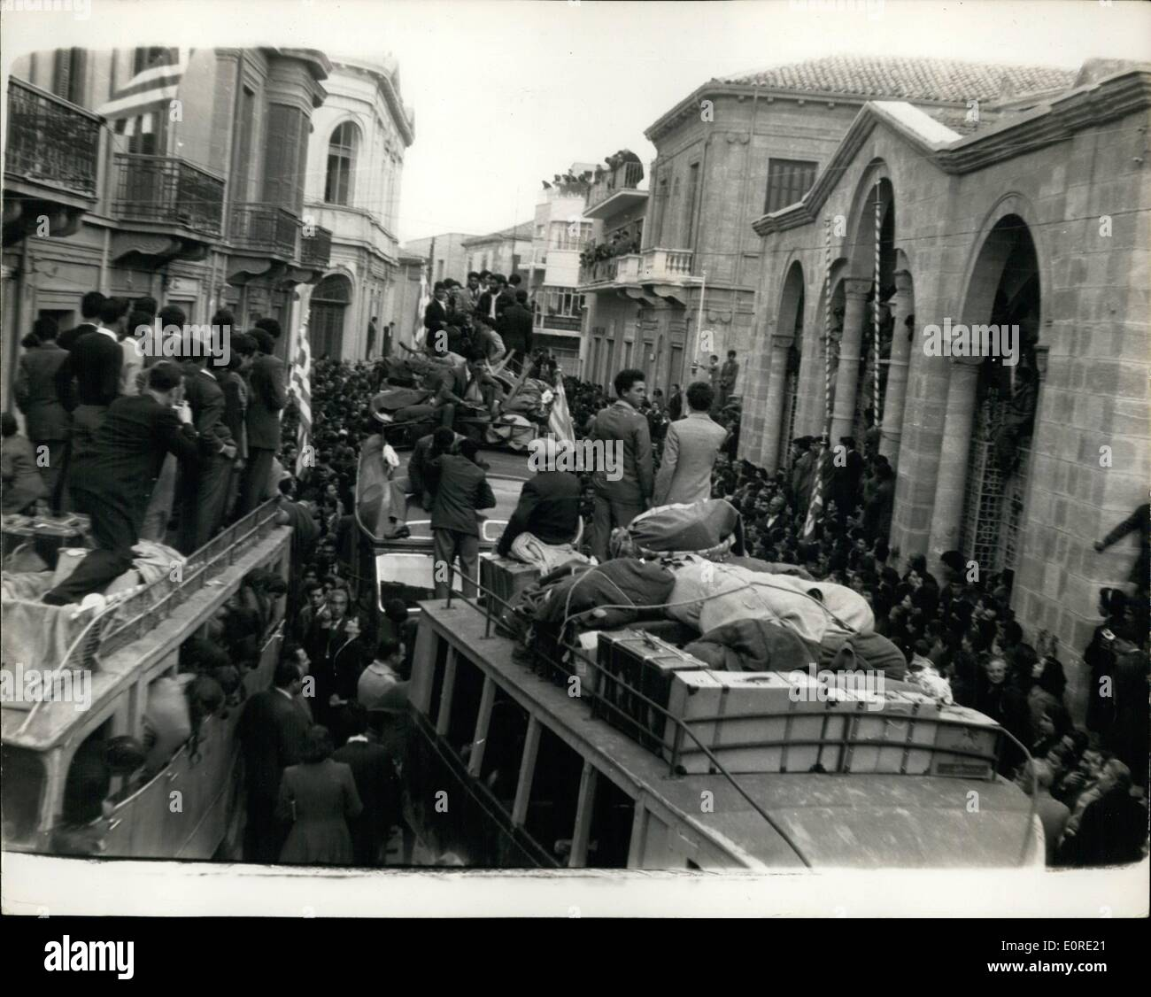 Feb. 02, 1959 - Detainees released in Cyprus: The scene in Nicosia on Sunday, when, after the release of more than 900 detainees in Cyprus, they went to the Phaneromeni Church, Nicosia, in an on buses, to kiss the ikons and give thanks. - Stock Image
