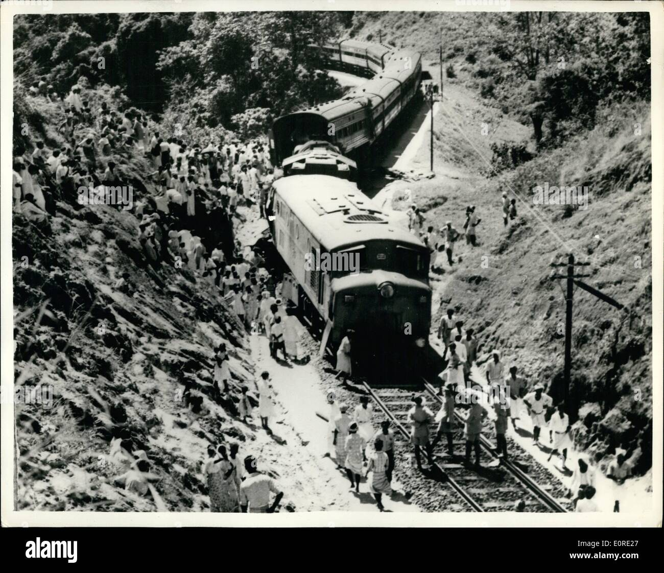 Feb. 02, 1959 - Eleven Injured In Ceylon Rail Crash...To Be Investigated By Criminal Department. An official inquiry has been ordered into the train accidents which occurred only two days prior to the General Strike - scheduled as a protest against Public Security (Amendment) Bill recently adopted by Ceylon's House of Representatives. One accident occurred in the heart of mountainous tea growing region where 235,000 tea plantation workers are due to strike - and resulted in eleven people being seriously injured. The other was on the North Western Line - and caused a blockage - Stock Image