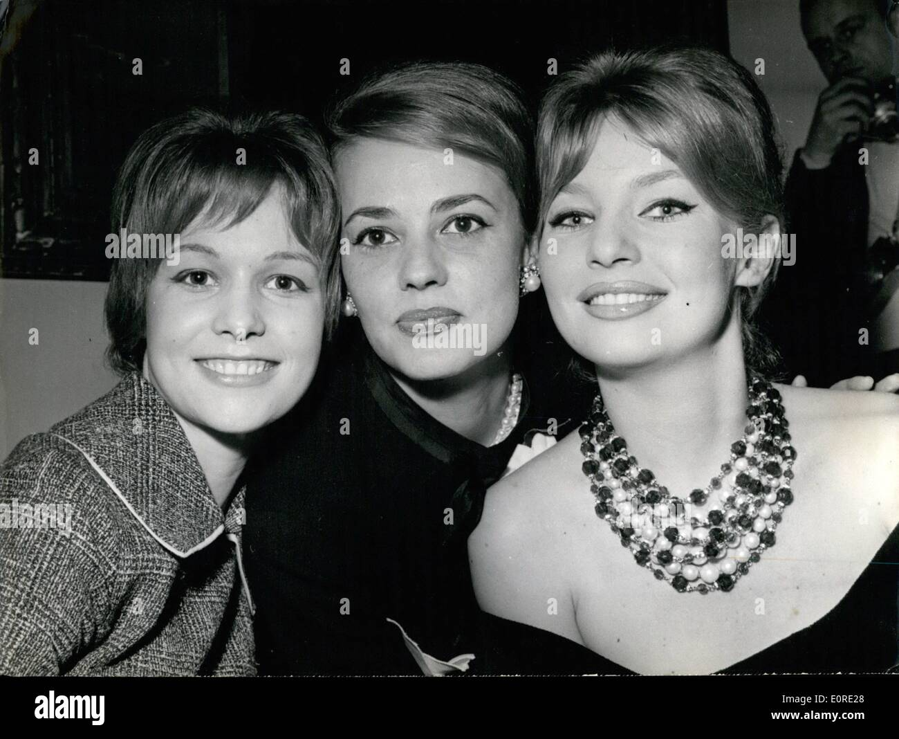 Feb. 02, 1959 - Starlet And Stars: Photo Shows The three actresses co-starring in Vadim's Film ''Les La Isons Dangereuses'' whose shooting will shortly begin in Paris. On left seventeen-year-old Jeanne Valerie who replaces the English school girl Gilliam Hills, too young for the role (June is only 14). In center, Jeanne Moreau and on left Annette Vadim, Vadim's wife. - Stock Image