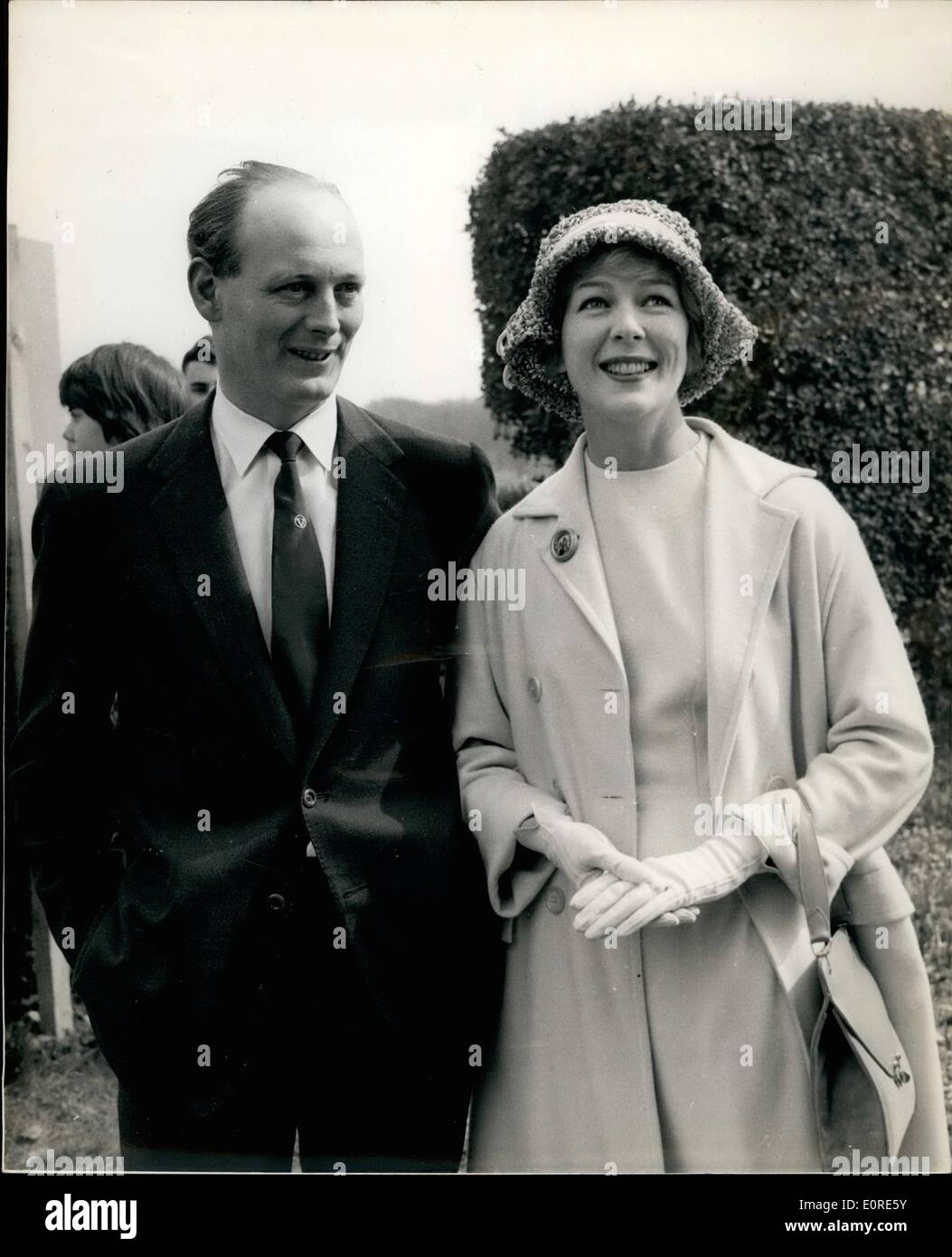 Apr. 04, 1959 - Lord Montagu And His Bride-To-Be: Lord Montagu of Beaulieu yesterday opened his exhibition of vintage cars - at - Stock Image