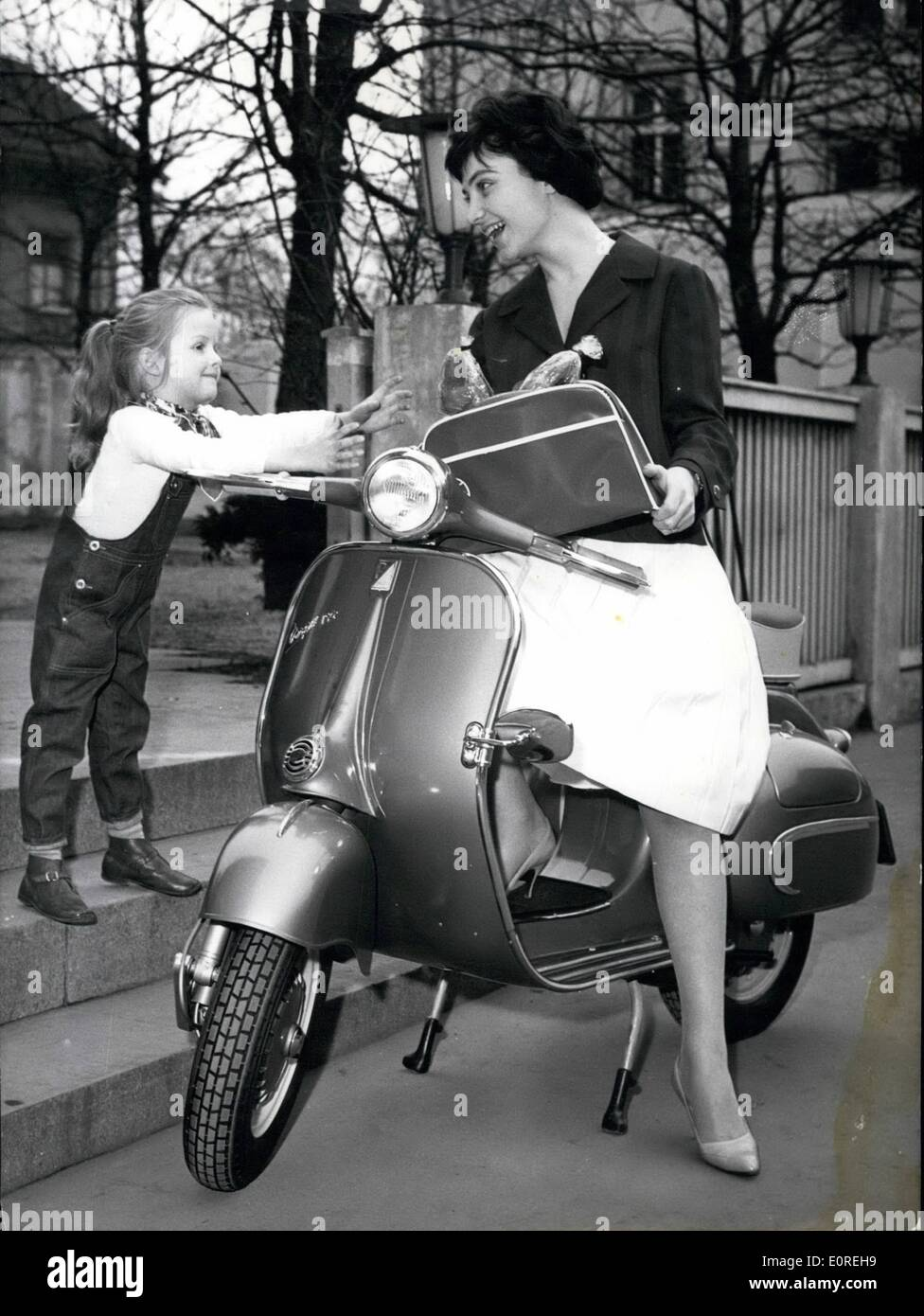 Mar. 03, 1959 - The new Vespa Touren 150.... these days was introduced to the press. At this model, important change Stock Photo