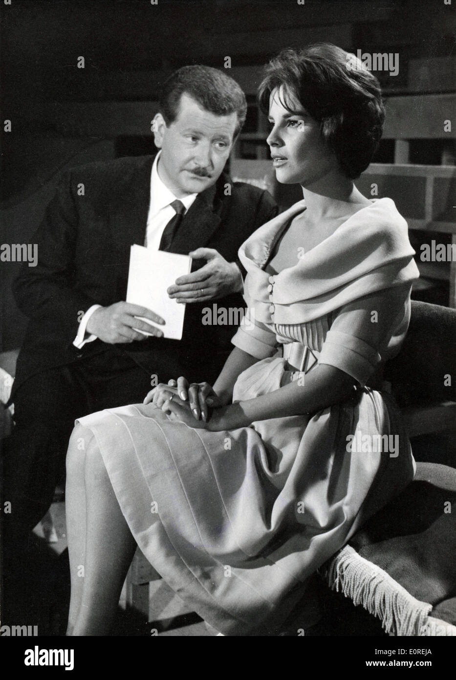 May 11, 1959 - Paris, France - Actress ANTONELLA LUALDI acting with c-star PIERRE BELLEMARE in a scene from the film, 'Match Against Death,' which is director Claude Bernard Aubert's last film. - Stock Image