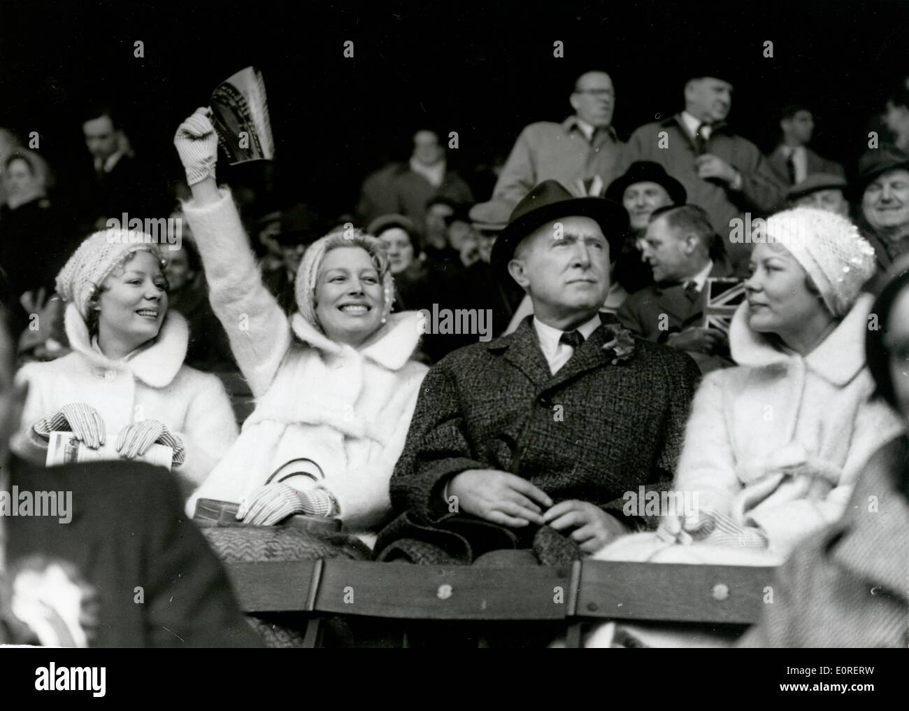 The Beverley Sisters cheering on Joy's husband Billy at a football game Stock Photo