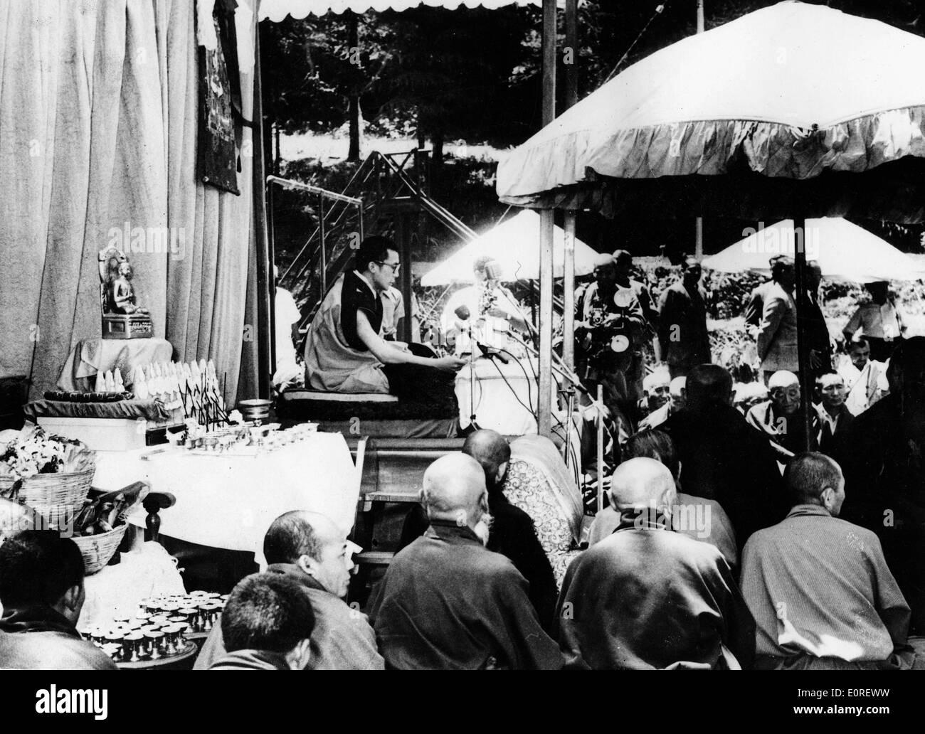 The 14th Dalai Lama at a celebration for Buddha's birthday - Stock Image