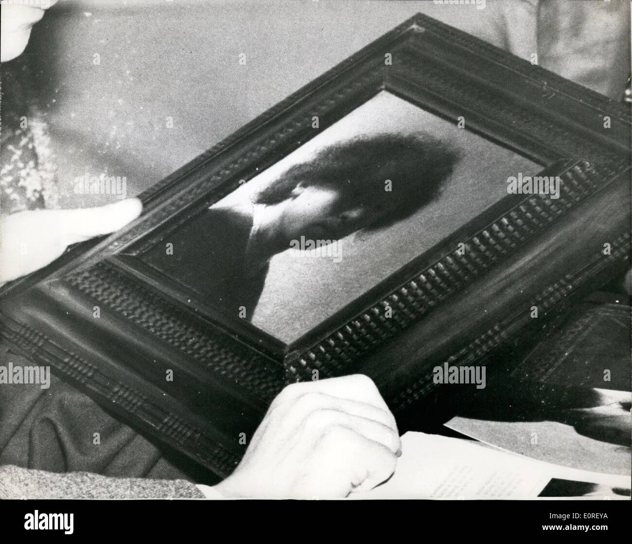 Jun. 06, 1959 - Rembrandt Self-Portrait Worth £20,000 Lay in Attic for Ten Years! An old painting lay in a family's junk room for ten years was revealed in London this afternoon to be a Rembrandt self-portrait-worth more than £20,000 . Ar Sotheby's a fortnight ago it was sold by a Glasgow schoolmaster for only a £1,700. The new owner had it cleaned only to discover that it was worth nearly fifteen times as much. Painted about 1628 its measurements are 9 3/8 X 7 7/8 inches. The new owner isn't thinking of re-selling it. The painting is unsigned - Stock Image