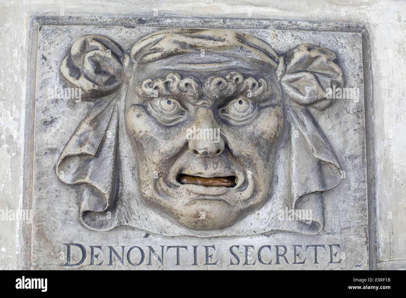 Lion's Mouth postbox for anonymous denunciations, Doge's palace, Venice Stock Photo