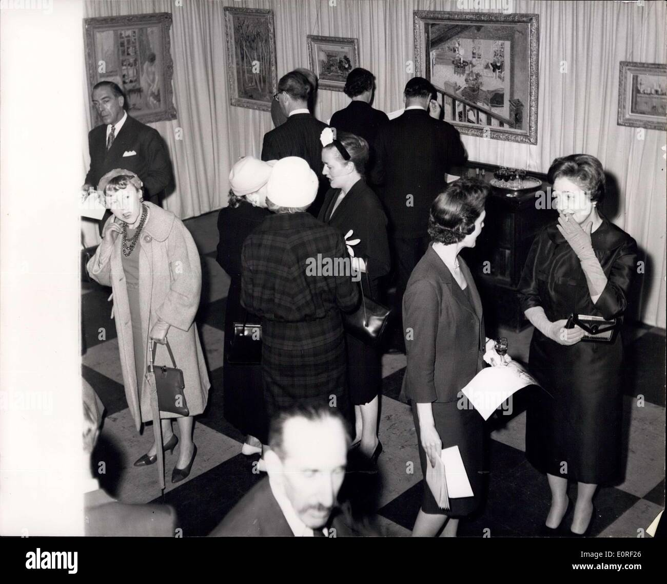 Apr. 22, 1959 - Lilian Mackendrick exhibition in London: A general view of the scene at a private view of paintings Stock Photo