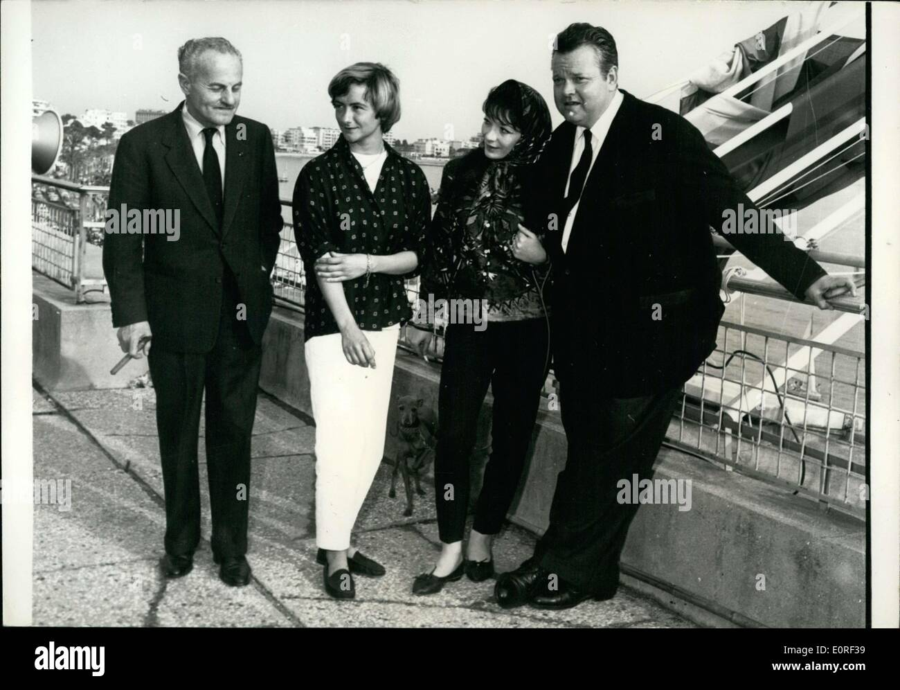 May 04, 1959 - They were photographed on the terrace of the Carlton Hotel yesterday. Orson Welles movie ''Compulsion'' had great success at the Cannes Film Festival. - Stock Image