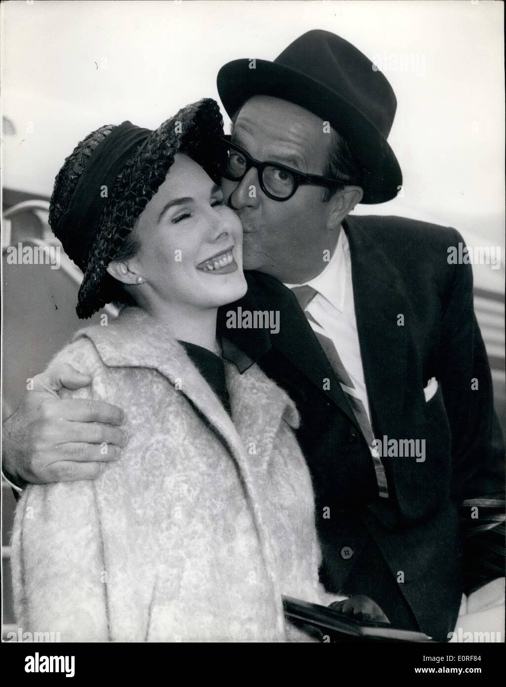 Jun. 06, 1959 - ''Sergeant Bilko'' Arrives: The American comedian, Phil Silvers, well-known to B.B.C. - Stock Image