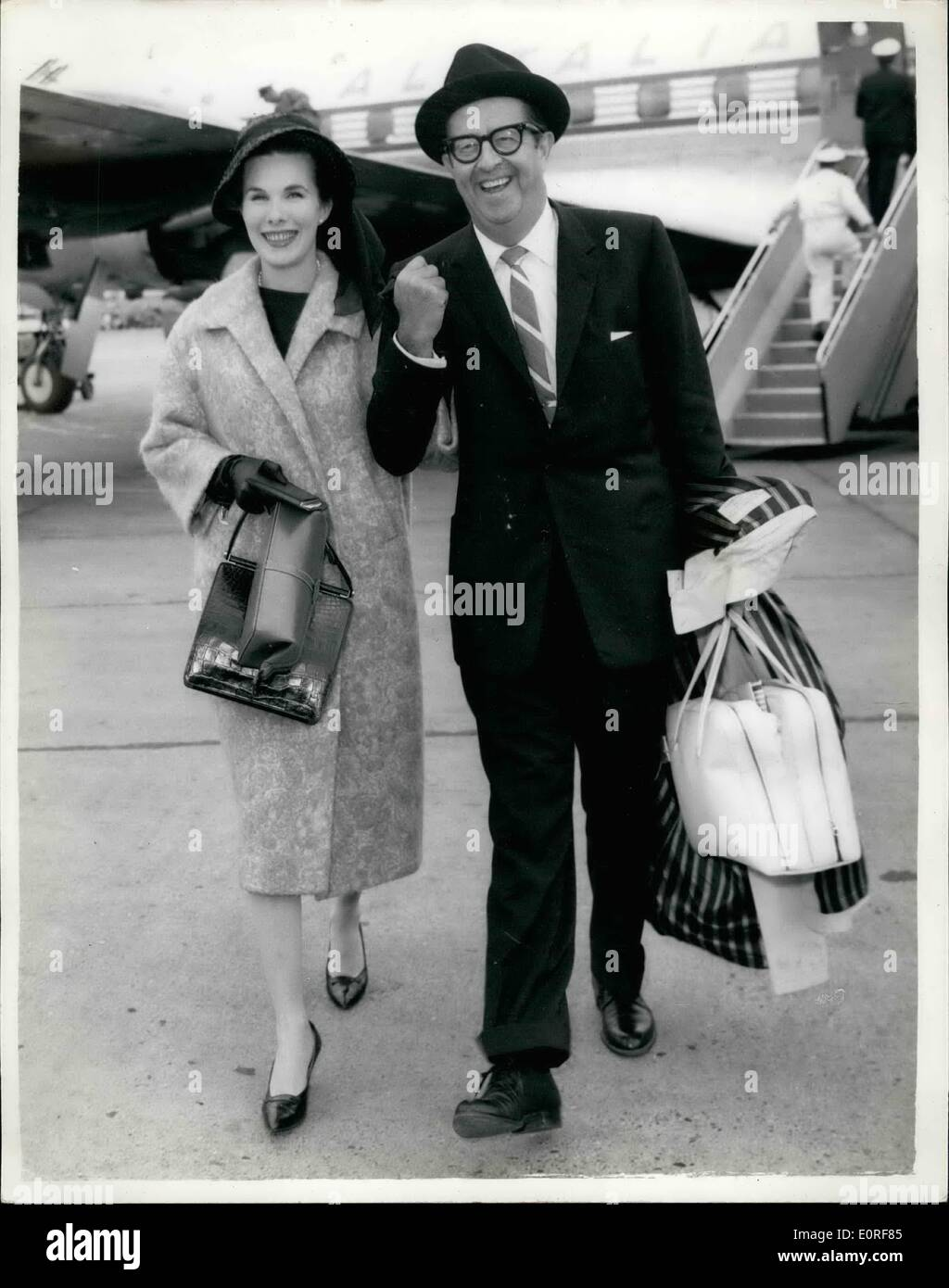 Jun. 06, 1959 - ''Sergeant Bilko'' Arrives: The American comedian Phil Silvers, well-known to B.B.C. - Stock Image