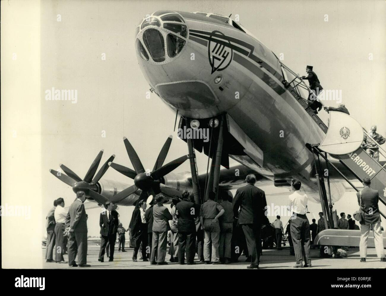 Jun. 06, 1959 - Paris International Air Show: A Civil Transport Plane the most important of the world, Russian plane TU 114 arrived in Le Bourget coming from Russia this morning. Realised by the Russian Ingeneer Andre ev, this turbo-prop model can carry 225 passengers - ''(Illegible)'' 800 to 850 km/hour. Photo Shows The TU 114 photographed at the Bourget airport this. - Stock Image