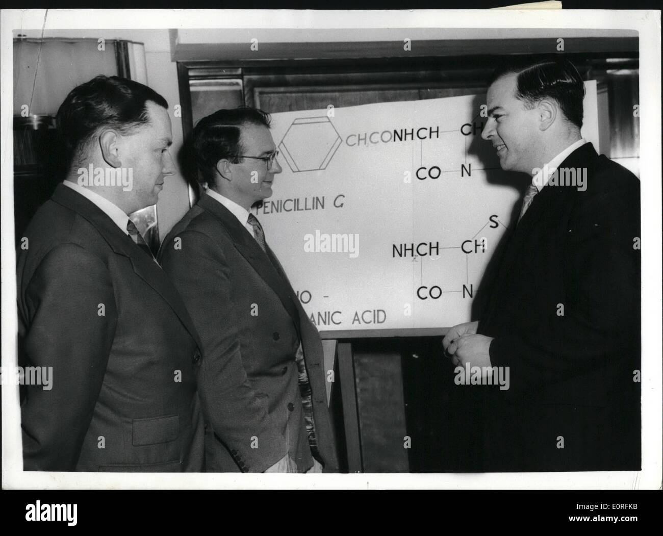 Jun. 06, 1959 - 6-3-59 British research workers discover new type of penicillin substance. Members of the Beecham Research Laboratories Research Team were to be seen at the Savoy Hotel this afternoon, when a statement was made on the substance which they have discovered from which new type of penicillin can be produced that may overcome resistant germs and cause no ill effects in people normally sensitive to penicillin. It is said to be the most important break through since Fleming's discovery in 1929. The team members are F.R. Batchlor of Ockley, Surrey; F.P. Doyle of West Ham, Essex; J.H.G - Stock Image