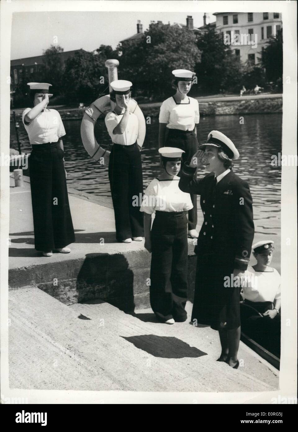 Aug. 08, 1959 - Lady Pamela Mountbatten visits girl's nautical training corps: Lady Pamela Mountbatten today paidStock Photo