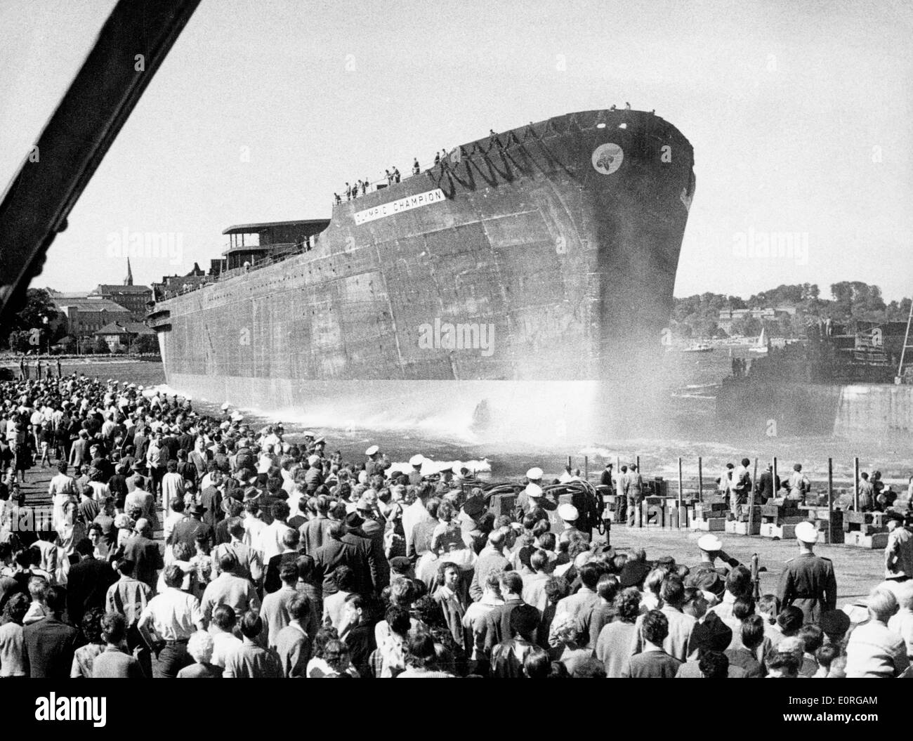 Launching of the Onassis shipping liner 'Olympic Champion' - Stock Image
