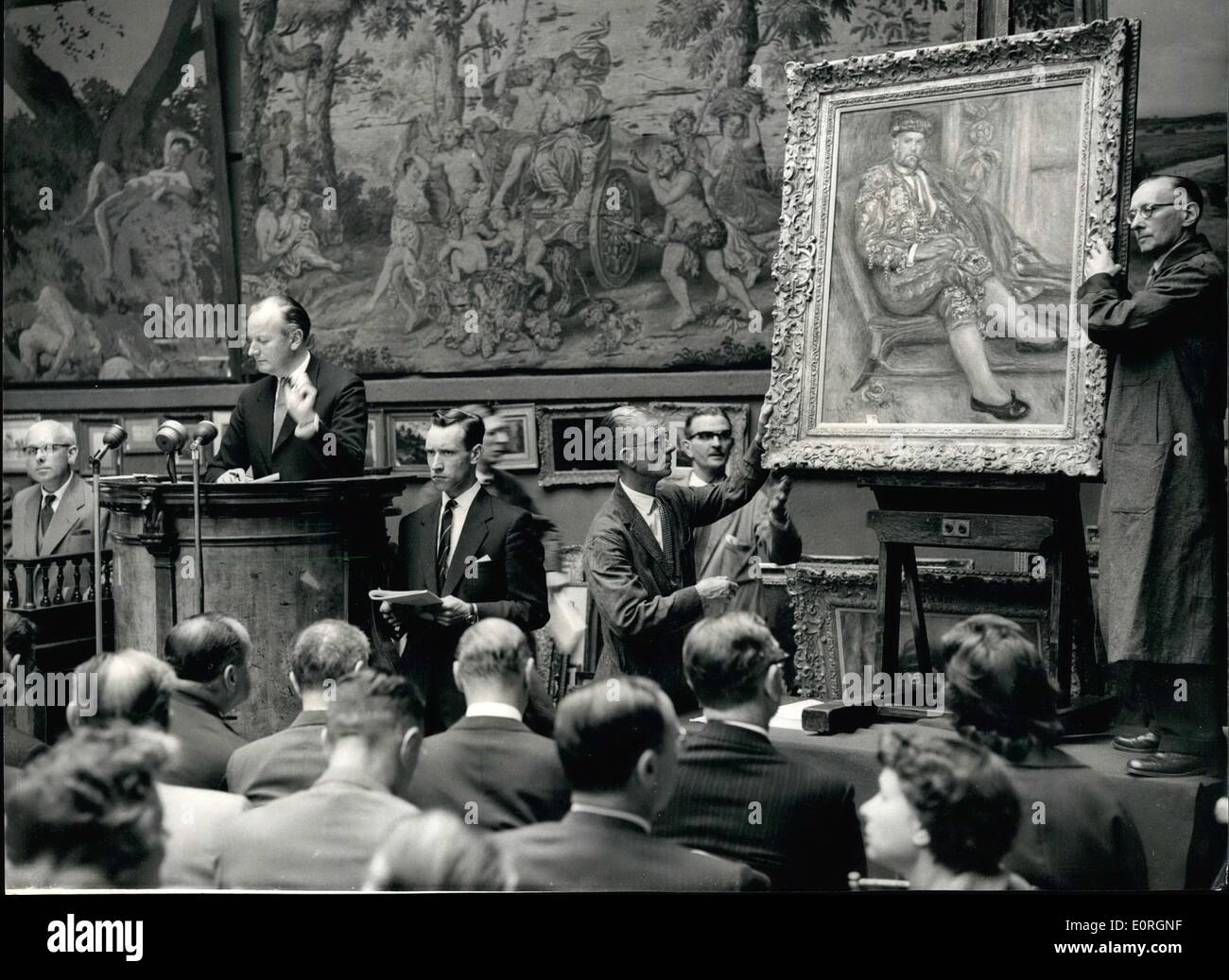 Jul. 07, 1959 - Painting from Chrystler Collection sold in London Remoir brings 22,000; A number of paintings from the fabulous collection belonging to American millionaire Water P. Chrystler Jnr. were put up for auction at Sotheyby's this morning. Photo Shows Scene during the sale of ''Portrati D'Ambroise Vollard on Toreador'' by Pierge Laguets - Stock Image