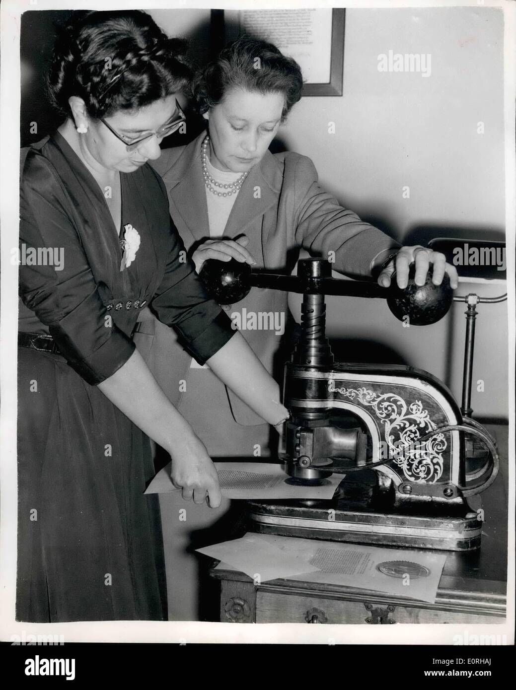 Sep. 09, 1959 - Preparing Copies Of The Proclamation For Distribution The Country: The work if sending out the Proclamation was - Stock Image