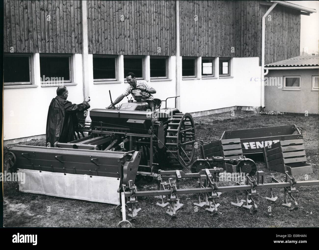 Sep. 09, 1959 - An automaton for the agriculture, exhibited at the Central Agriculture Fair A farm - right in the heart of Munich! - was built up for the Central Agriculture-Fair. It is furnished with all tools and machines that make a modern farm. One of the things exhibited is a tool carrier by means of which one man can do all kind of work necessary on a form More than 20 different farming tools can be put up on this carrier, and it is, for instance, quite sufficient for fully motorizing a farm which is about 40 acres large - Stock Image