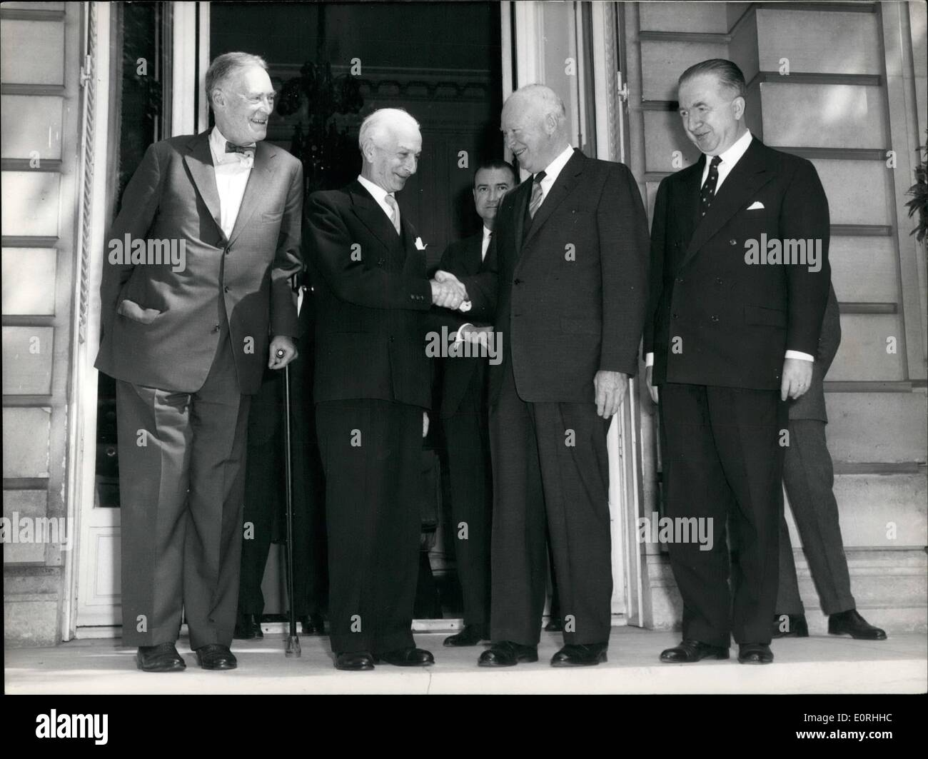Sep. 09, 1959 - Photo shows President Eisenhower photographed with the Italian premier, Signor Segni at the American ambassador's Paris residence this morning. - Stock Image