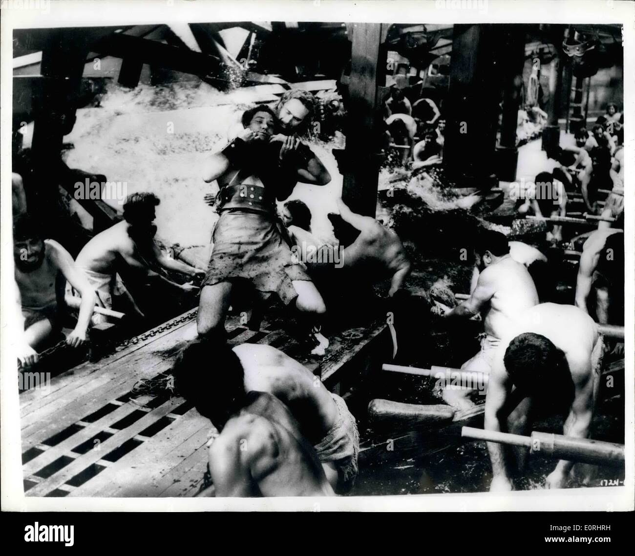 Nov. 11, 1959 - The fight in the galley.. new film version of ''Ben Hur''.. The realistic fight in the galley - a scene from the new film version of ''Ben Hur'' - produced by Metro-Goldwyn-Mayer. The film has its European Premiere in London - on December 16th. - Stock Image