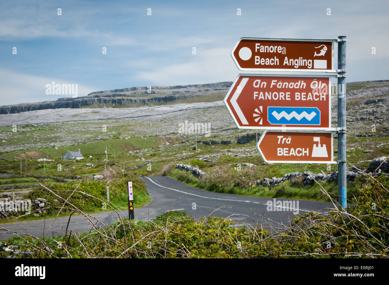 Signposting Wild Atlantic Way route through County Clare in West of Ireland - Stock Image