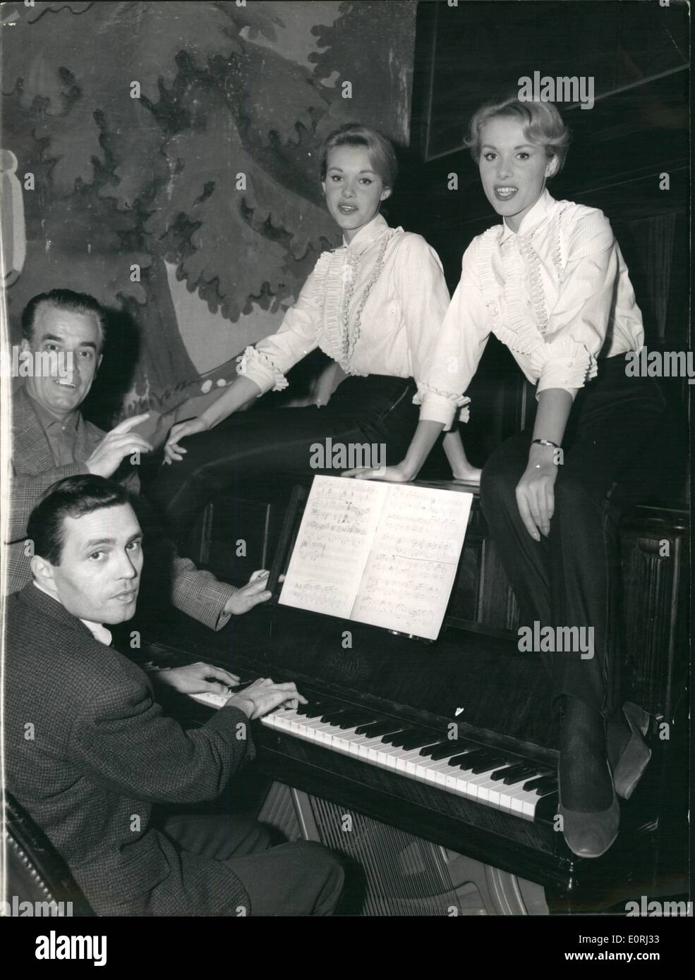 Nov. 11, 1959 - The Lido's Kessler twins, who are also part of the Blue Bell Girls, are going to start singing duets and will perform several songs that Betti and Landreau composed for them. The first song that they will release is called ''With Pleasure''. Michel Bernar - Stock Image