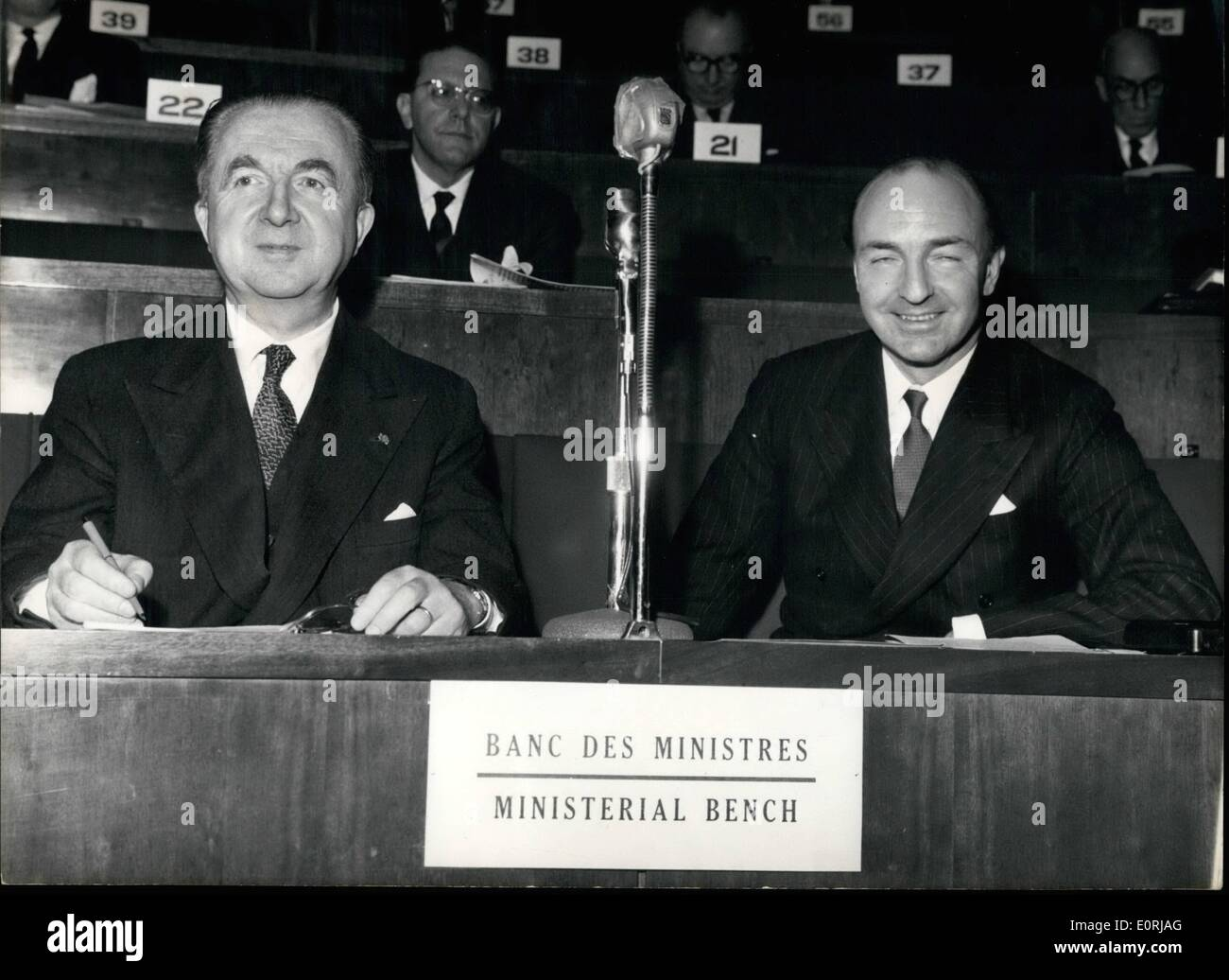 Nov. 11, 1959 - Ministers of Union of Western Europe meet in Paris: A four day meeting of the Ministers of the seven countries members of the Union of Western Europe opened in Paris today. The problem of the creation of ''Strategic Nuclear Force'' is one of the items on the agenda. Photo shows Italian Foreign Minister Giuseppe Pella (left) and Foreign Office State Secretary John Profumo pictured on the Ministers bench during the opening meeting this afternoon. - Stock Image