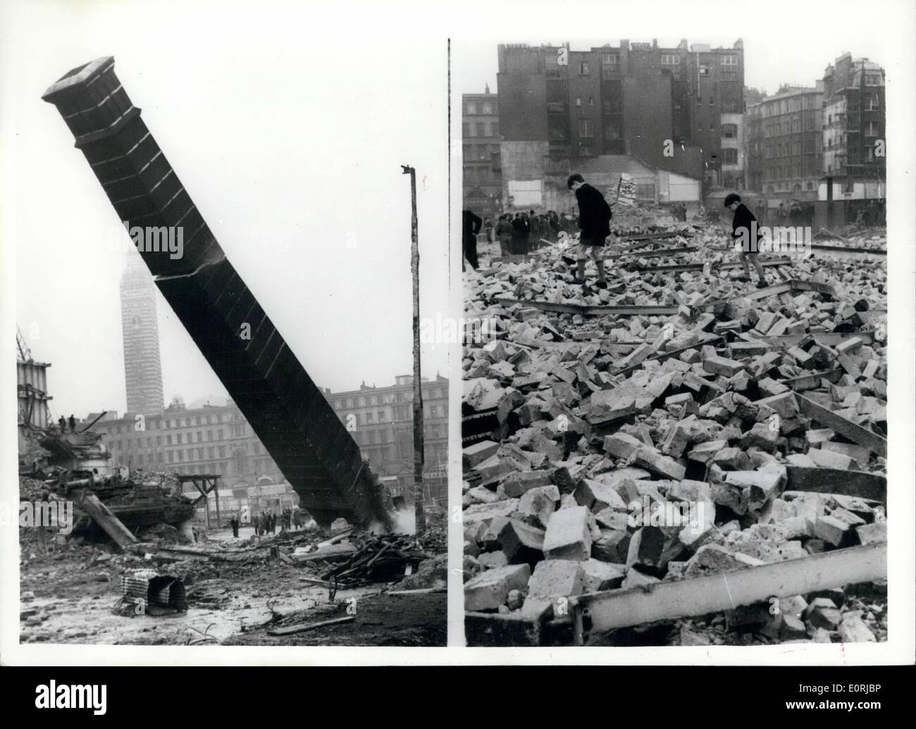 Nov. 11, 1959 - 120-feet-high Brewery Chimney-stack is demolished in London: A 120-feet-high chimney stack, erected in 1912, was demolished today at the Watney Mann Stag Brewery at Victoris, London. The chimney, one of three, are being demolished on this site to make way for development. There has been a brewery on this site for at least 300 years, the first called the Stag Brewery, was built in the second half of the 17th century. Photo shows two scenes during the demolition of the 120ft. high chimney - showing it half way down, and just as a huge pile of bricks and mortar. - Stock Image