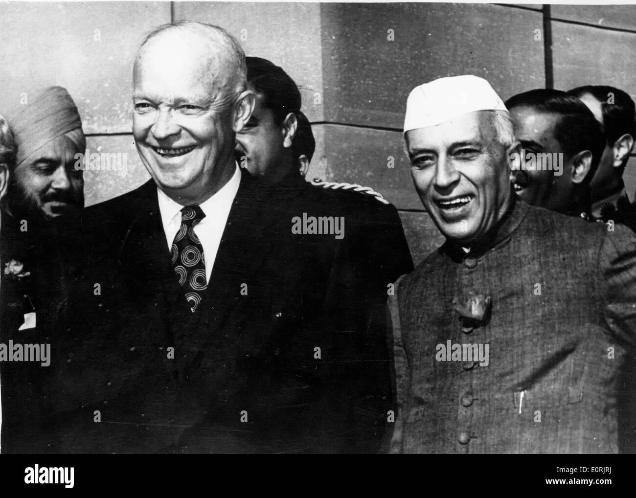 President Eisenhower with Jawaharlal Nehru - Stock Image
