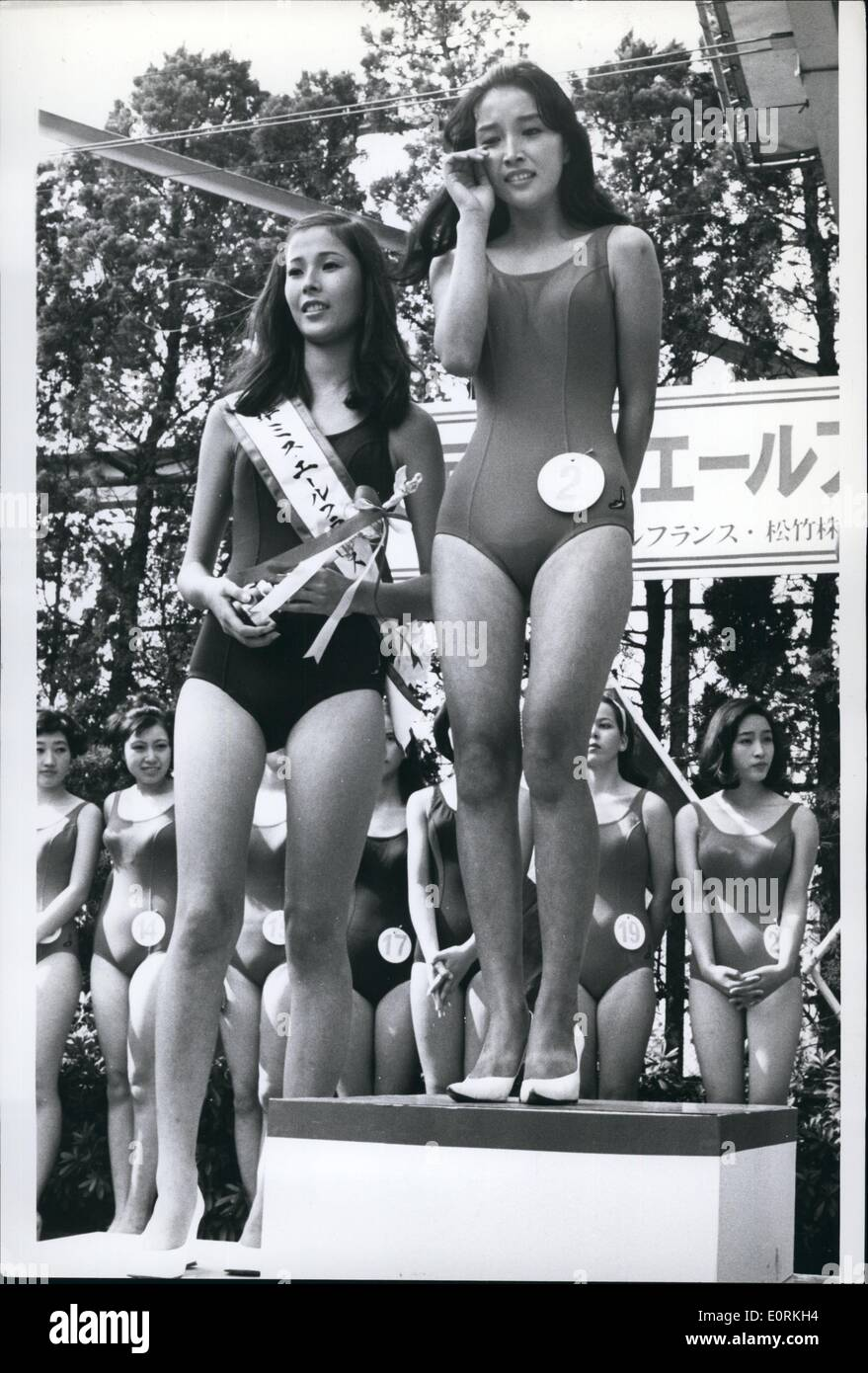 Jan 1, 1960 - ''Cry For Happy'': The Japanese often ''cry for happy'' when something good or lucky happens for them, and this is what pretty Midori Kamada is doing when she was chosen ''Miss Air France'' in Tokyo. Midori is a 16 year old student from Kyoto, and her victory means a trip to Paris with VIP treatment, and lots of gifts as well for a whole year. Next to the crying beauty is Yoko Nakamura age 17, who is also a student from Yokkaichi, Japan, and behind some of the contestants who were unlucky. - Stock Image