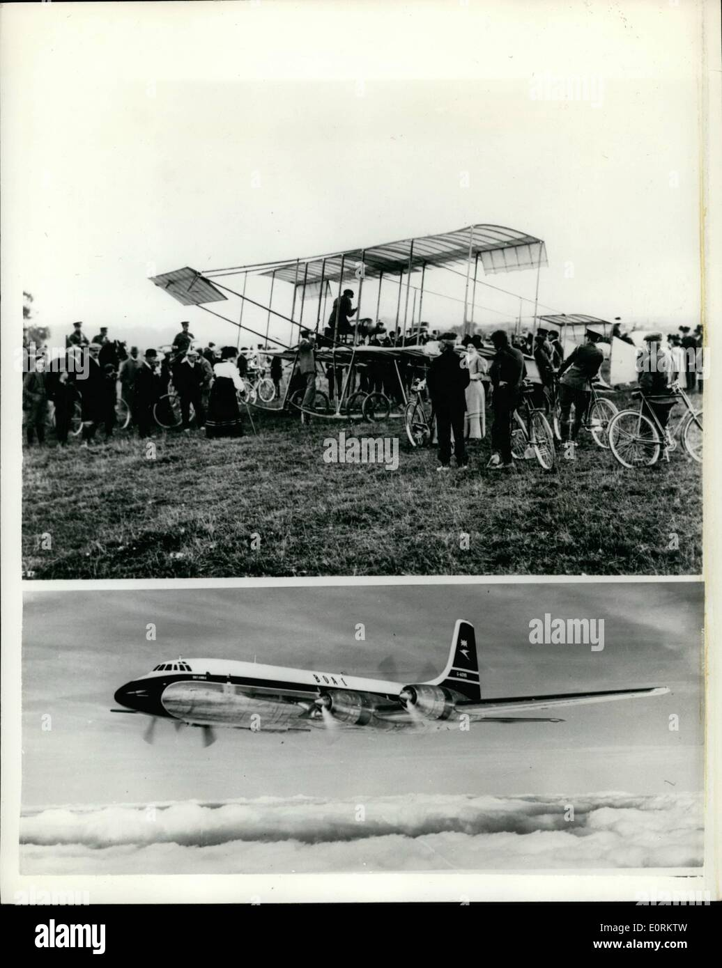 Jan. 01, 1960 - Ancient and Modern, Fifty Years if Aviation, The Boxkite - and the Bristol Britannia..The famous Stock Photo
