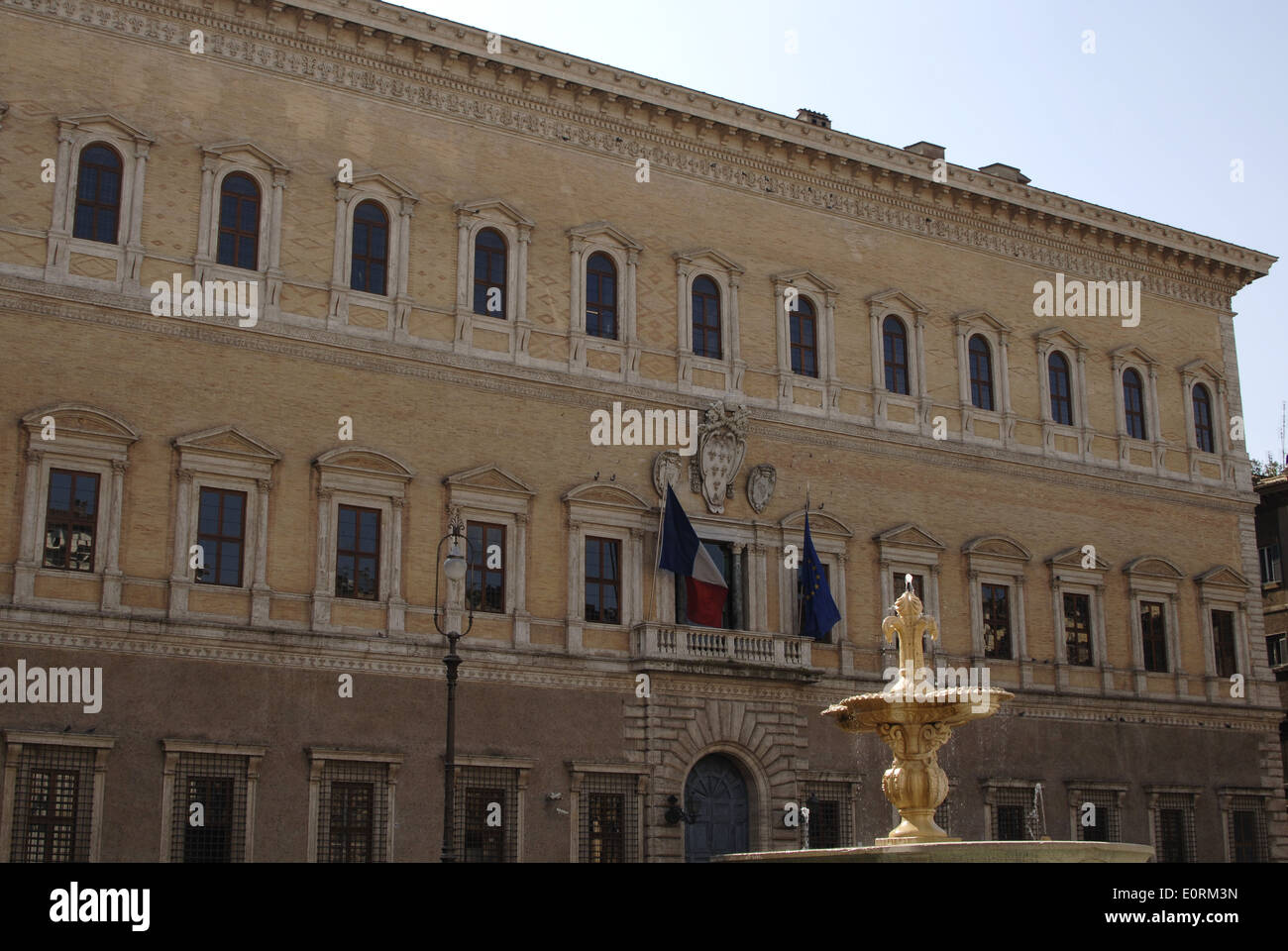 Italy. Rome. Palazzo Farnese. High Renaissance. It was designed in 1517 for the Farnese family. Facade. - Stock Image