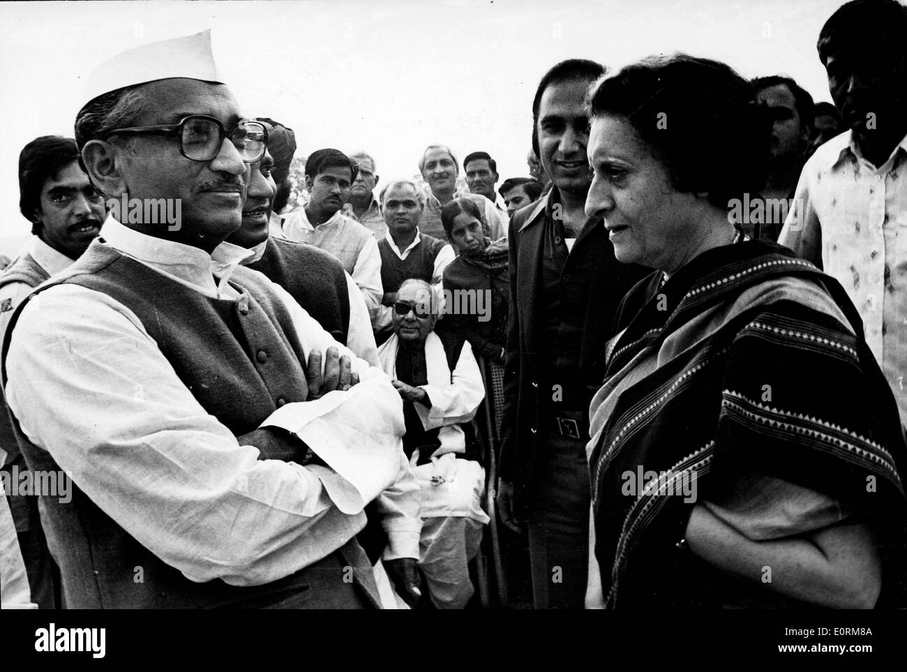 Jan. 01, 1960 - File Photo: circa 1960s-0970s, location unknown. MORARJI DESAI, left, and INDIRA GANDHI, right. - Stock Image