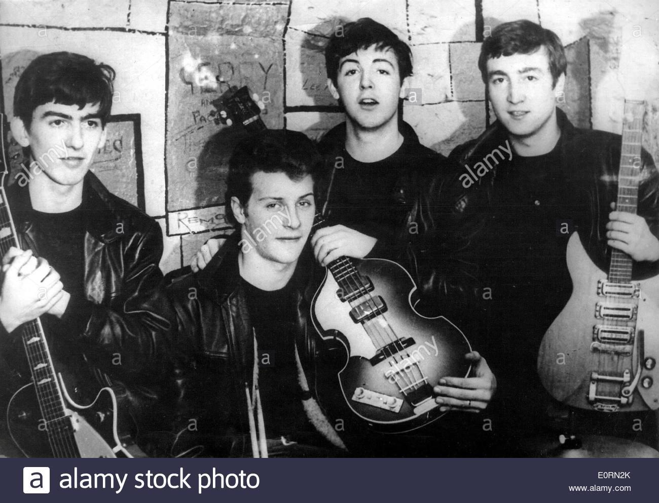 The Beatles original members, George Harrison, Pete Best, Paul McCartney, John Lennon - Stock Image