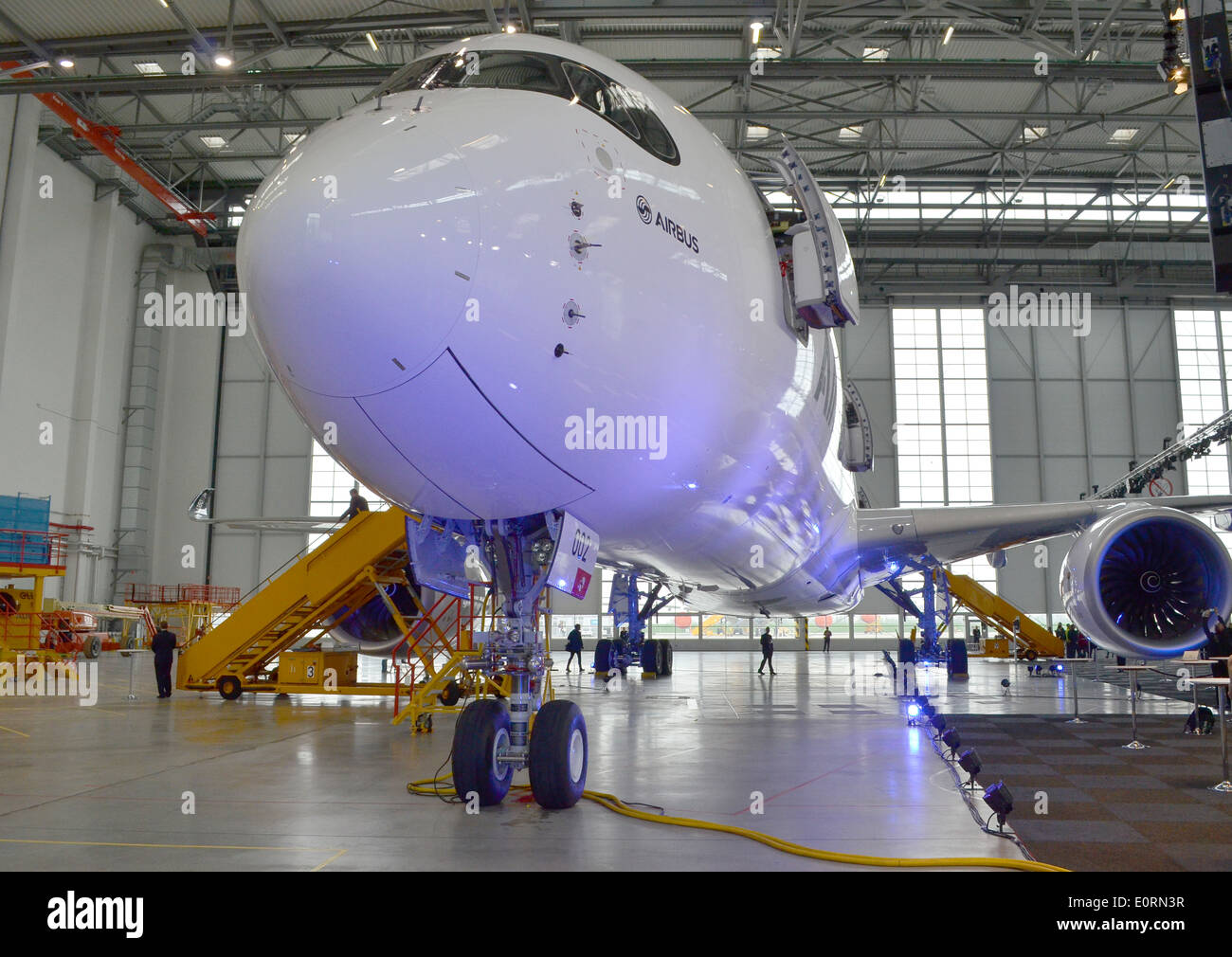 An Airbus A350XWB at the Airbus headquarters in Finkenwerder, Hamburg, GermanyStock Photo
