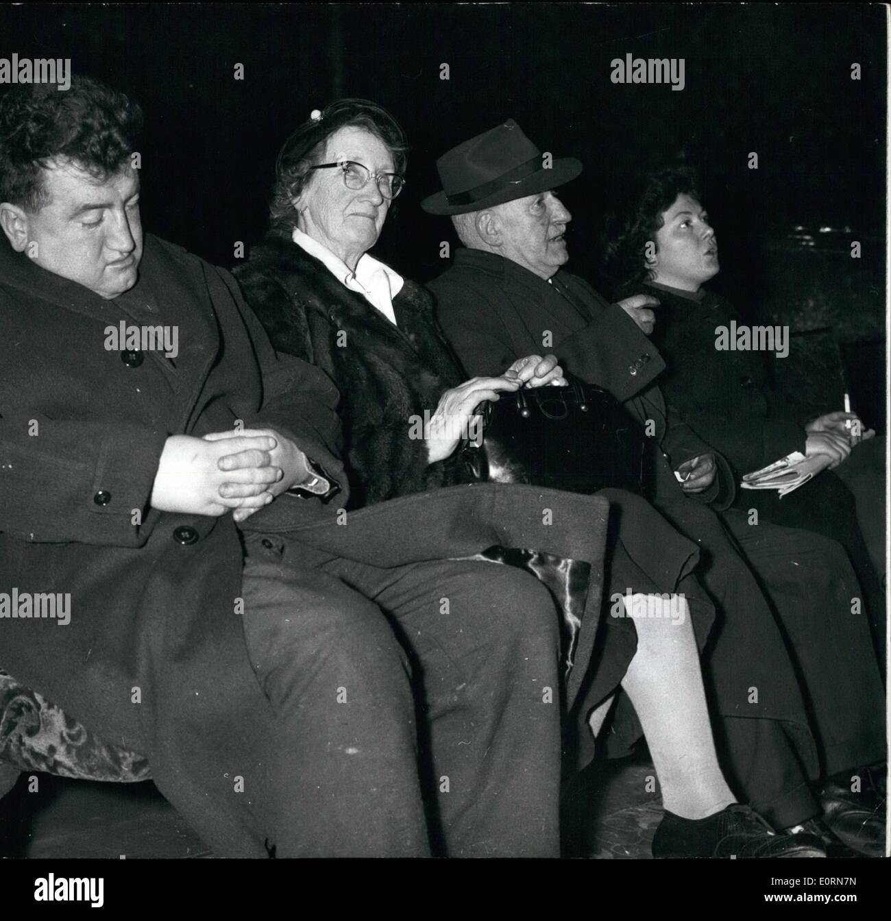 Mar. 03, 1960 - Brendan Behan goes to rehearsal of Brother's Play - and goes to sleep: Brendan Behan the well known Irsh playwright - attended a rehearsal in London last evening of the play ''Posterity be Damned'' - written by his brother Dominic - and fell asleep. Then he woke up red-faced and sullen and angry and shouted a rude word.. He followed this with a cry of ''rubbish''. Then he stalked out of the Metropolitan Theatre, Edgeware Road - but before going he declared passionately ''There were no murderers in the IRA''. Dominic's play suggests that there were - Stock Image