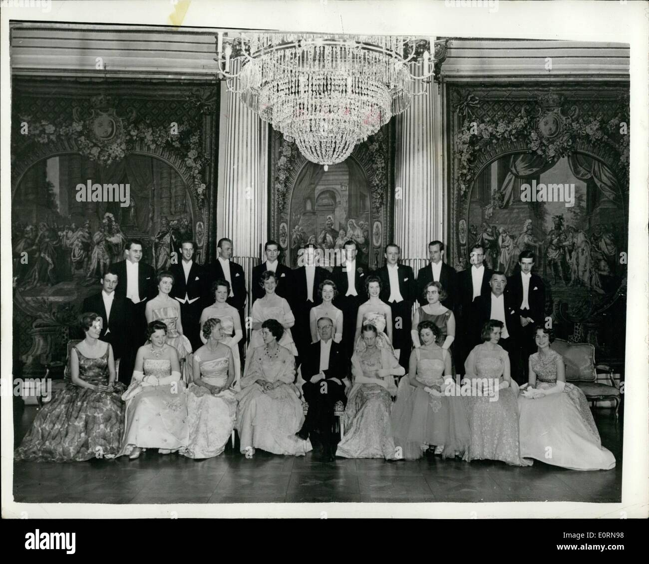 Mar. 03, 1960 - Bail At The Royal Palace In Stockholm. Photo shows Posed group taken at last night's glittering ball, held in the Royal Palace in Stockholm. (L to R - First Row): Princess Margaretha of Sweden, Princess Beatrix, of the Netherlands, Princess Sibylla, of Sweden, Queen Frederica, of the Hellenes, King Gustav Adolf and Queen Louise of Sweden, Princess Alexandra of Kent, and Princess Sophie of the Hallents - Stock Image