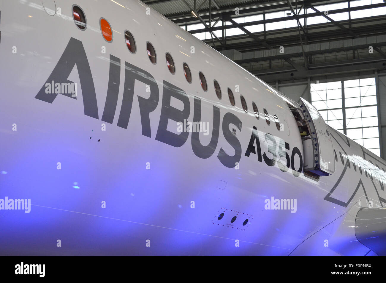 Fuselage of an Airbus A350XWB at the Airbus headquarters in Finkenwerder, Hamburg, Germany - Stock Image