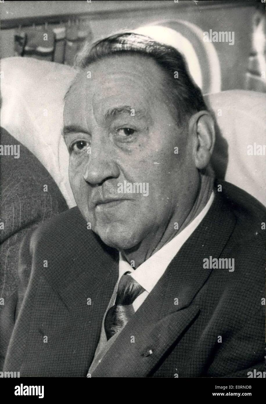 Jan. 30, 1960 - Famous French Flyers Dies After Long Illness - Pioneer of Night Flights Paris London. Paul Codos, the famous French Flyers, one of the pioneer of commercial aviation, died after a long illness in Paris this morning. He was 63 years old. In 1924 he was the first to undertake night flights between Paris and London. He made a non stop flight from Paris to New York with Rossi as a co pilot in 1933. OPS: One of the most recent pictures of Paul Codos. - Stock Image