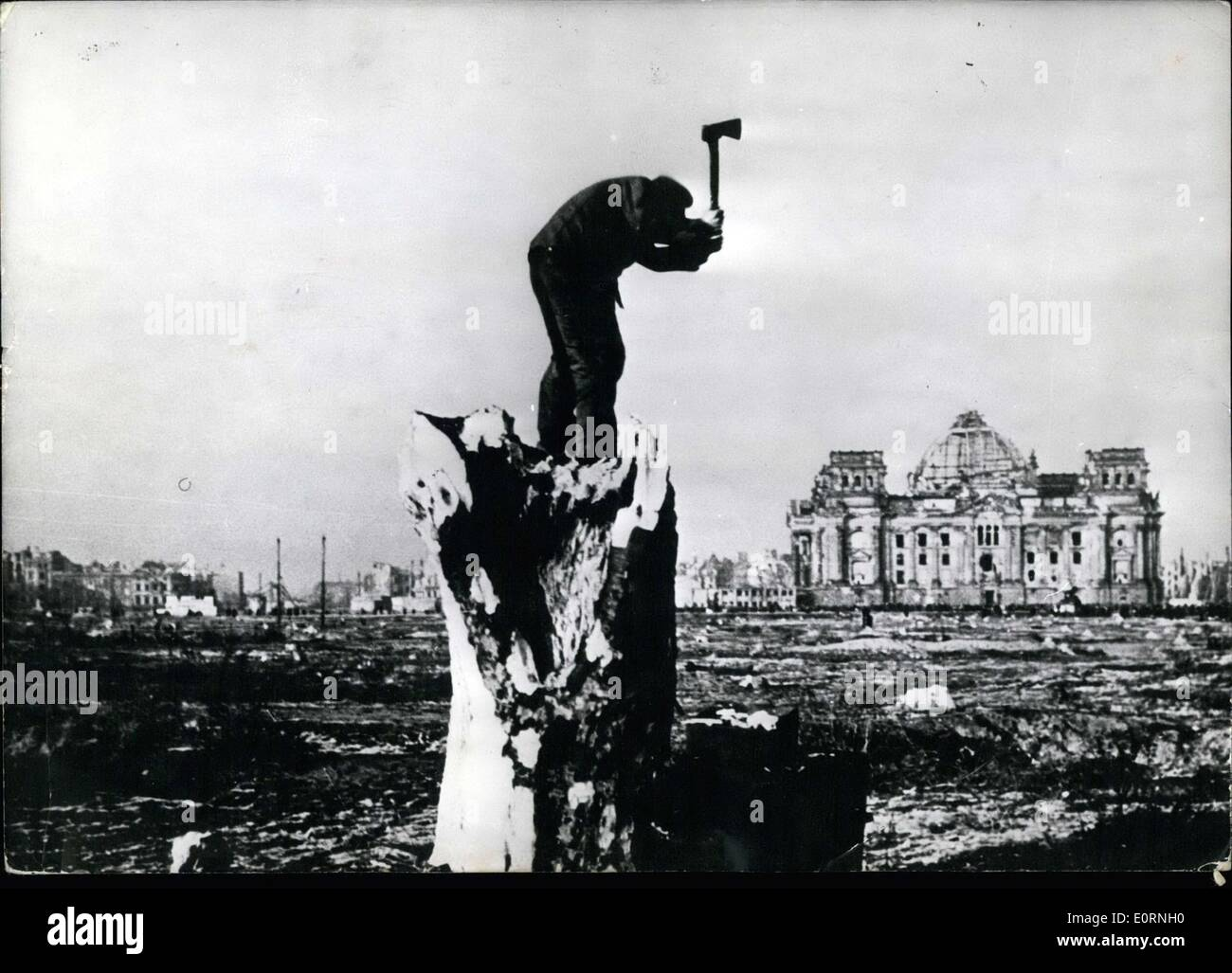 Mar. 09, 1960 - 15th anniversary of the end of the second world war. Berlin 1945: View of the destroyed zoological garden at the Reichstag. - Stock Image
