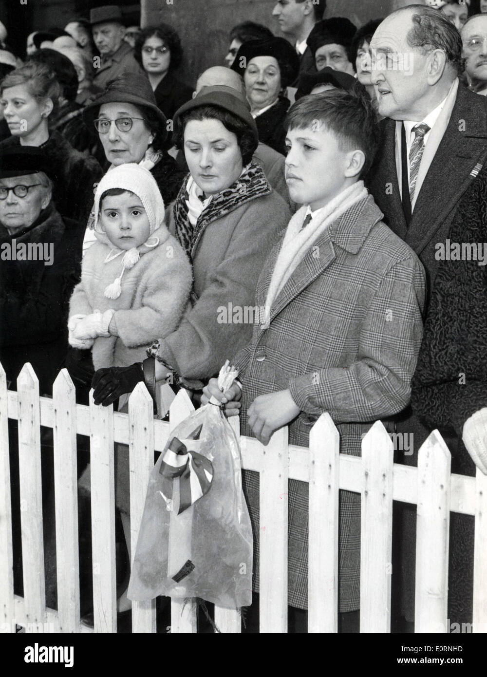 Mar. 12, 1960 - Paris, France - Ten-year-old PATRICK son of Lydia Lova, watches the ceremony where his mother is receiving a Legion of Honor for her activity during the German occupation as a member of the French Resistance. - Stock Image