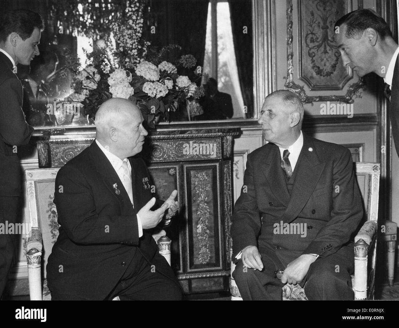President of France CHARLES DE GAULLE and Premier NIKITA KHRUSHCHEV at the Elysee Palace, Fance. - Stock Image